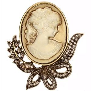 🆕 Vintage Style Brown Gold Crystal Cameo Brooch